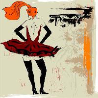 Pixwords The image with painting, woman, dress, drawing, red Lunetskaya