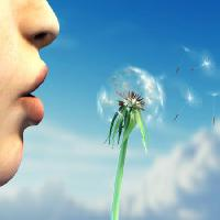 Pixwords The image with face, human, plant, lips, blue, sky, flower Andreus - Dreamstime