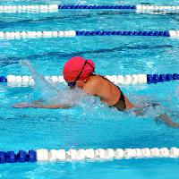 Pixwords The image with swim, swimmer, red, head, woman, sport, water Jdgrant