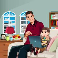 Pixwords The image with kid, child, father, family, laptop, lamp, windows, smile Artisticco Llc - Dreamstime
