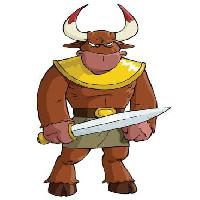Pixwords The image with warrior, sword, horns, bull, taurus, animal Dedmazay - Dreamstime