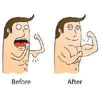 Pixwords The image with muscle, weak, before, after zenwae - Dreamstime