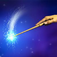 Pixwords The image with magic, hand, stick, star, blue Andreus - Dreamstime